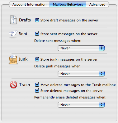 Screenshot: Never Delete IMAP Mail
