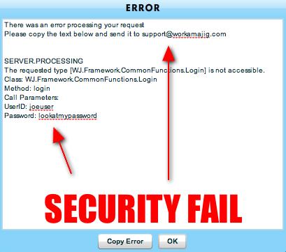 Workamajig.com login error echoes the entered password in cleartext and encourages the user to send this to their support via email.