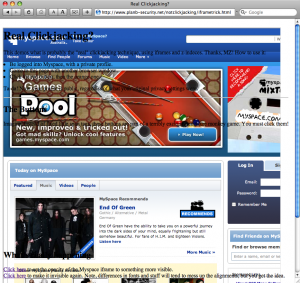 Screenshot of Safari after clickjane.css is used to expose clickjacking attempts.