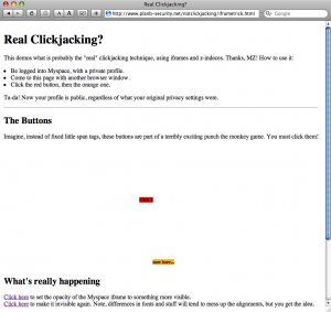 Screenshot of Safari before clickjane.css is used to expose clickjacking attempts.