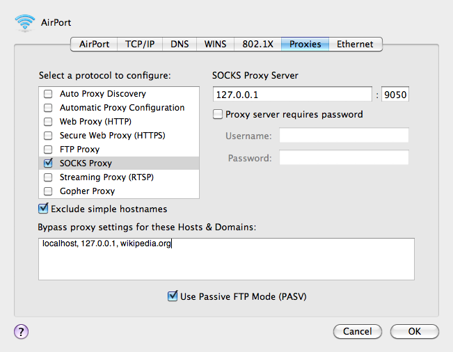 Screenshot of Mac OS X Proxies Network Preferences.