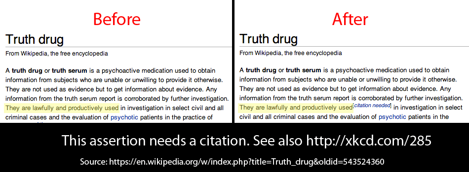 "Wikipedia text, ""Any information from the truth serum report is corroborated by further investigation. They are lawfully and productively used,"" modified with a ""citation needed"" edit."