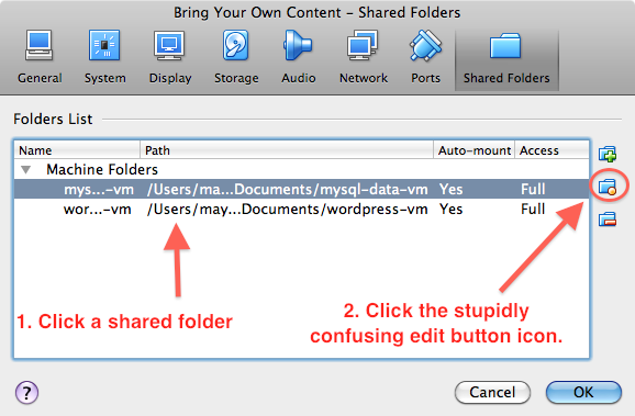 Screenshot of VirtualBox Manager's 'Shared folders' preference screen for a virtual machine.