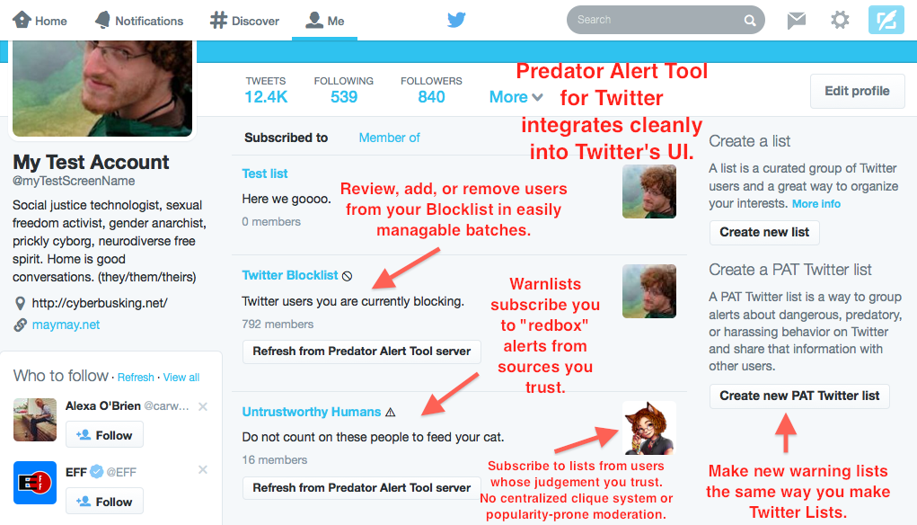 Annoted screenshot of initial Predator Alert Tool for Twitter prototype user interface.