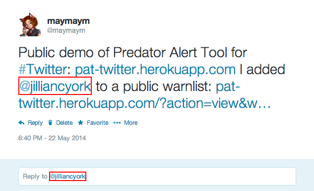 Using Predator Alert Tool for Twitter, any and all links to the profile, tweets, or lists of a user who is on a Predator Alert warnlist you've subscribed to are redboxed. In infamous Predator Alert Tool style, click through to their profile to view the alert's details.