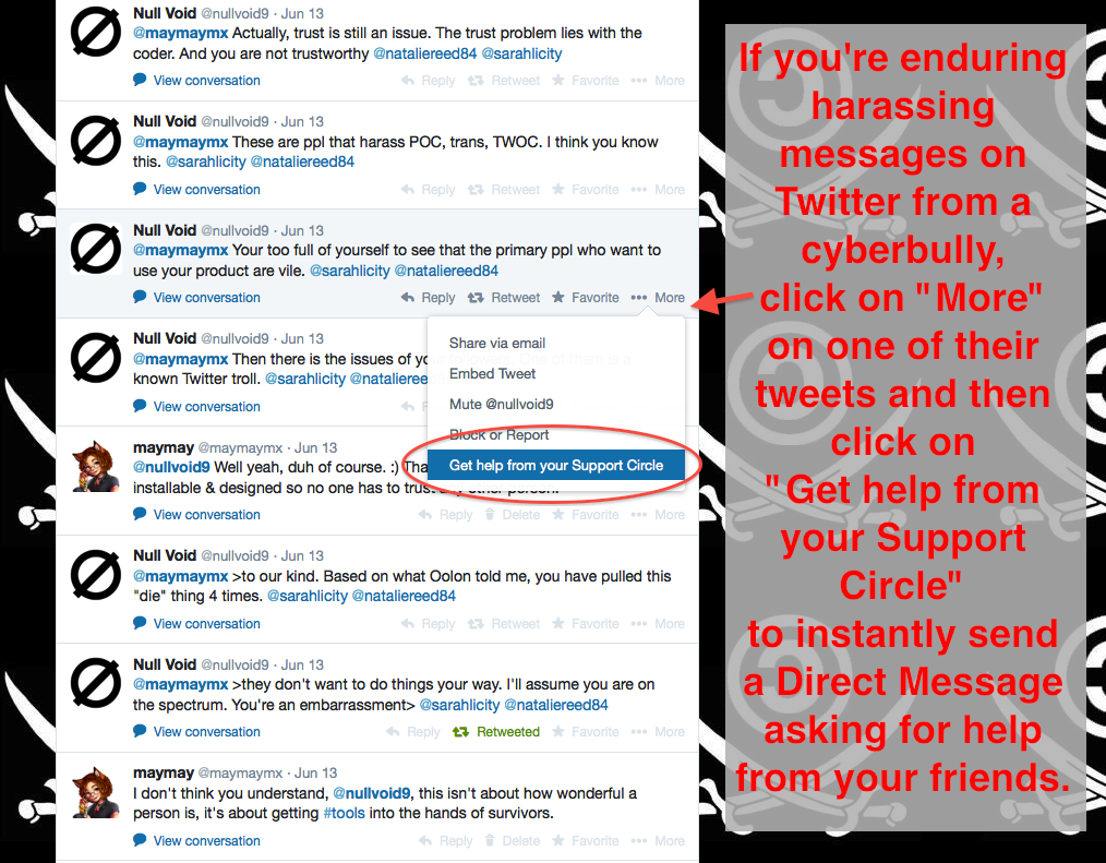 "This screenshot shows a small excerpt from a four hour long cyberbullying dogpile by @nullvoid9 on Twitter, with the new ""Get help from your Support Circle"" link under their tweet."