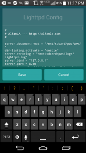 Screenshot of the Lighttpd server config screen in the Palapa Web Server app for Android.