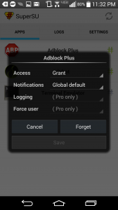 Screenshot of SuperSU on Android displaying superuser access rights for the AdBlock Plus app.