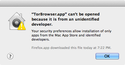 "Screenshot of Mac OS X Gatekeeper preventing TorBrowser.app from running ""because it is from an unidentified developer."""