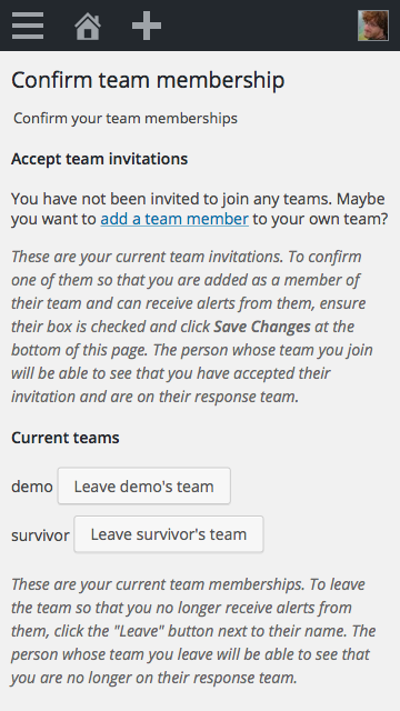 "Screenshot of Buoy's ""Team Membership"" page."